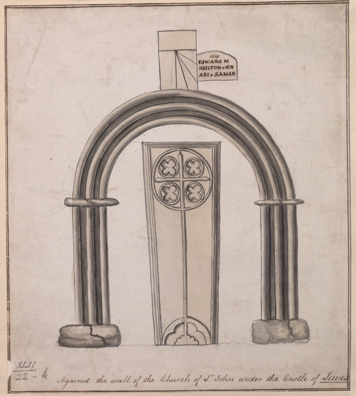 Tomb of Edward Middleton and Henry Saman,1635, against the wall of the Church of St John under the Castle of Lewes
